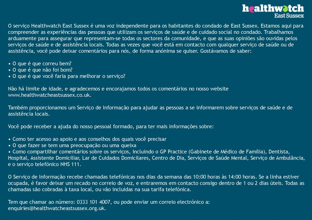 About Healthwatch East Sussex in Portugese