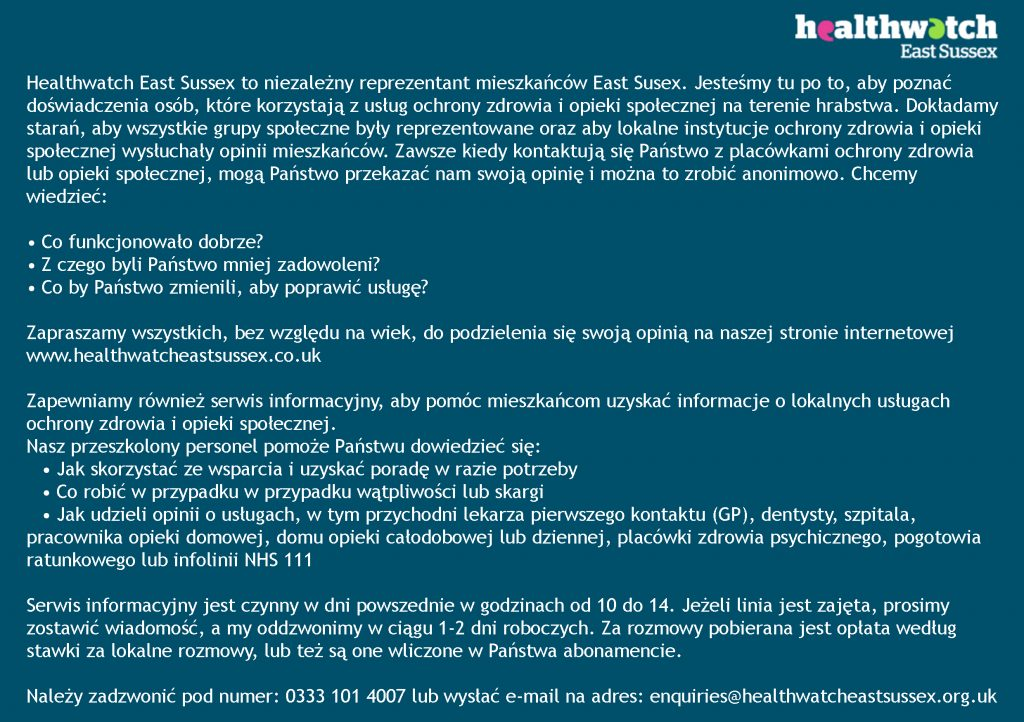 About Healthwatch East Sussex in Polish