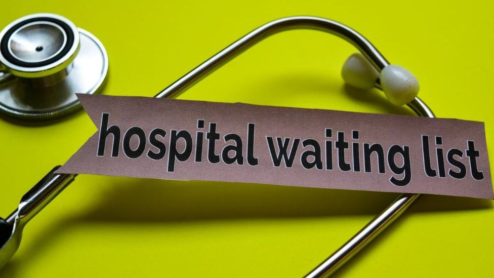 Waiting list with Doctor's stethoscope