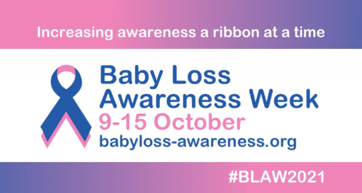 Baby loss awareness week. 9-15 October Blue and oink ribbon. babyloss-awareness.org.uk