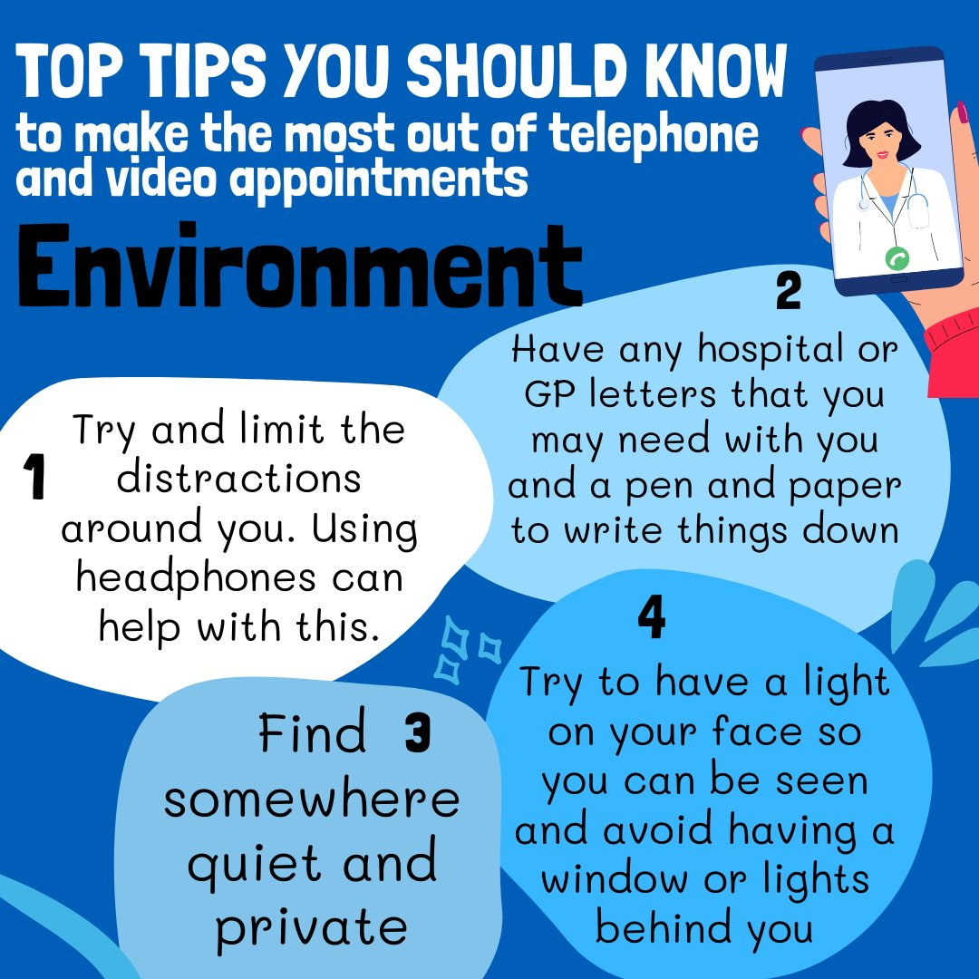 Top tips you should know to make the most our of telephone and video GP appointments. Environment. - quiet, private, have info and pen and paper to hand, have light to your face and try not to have a wondow behind you.