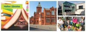 Halton libraries buildings, books and activity group photos.